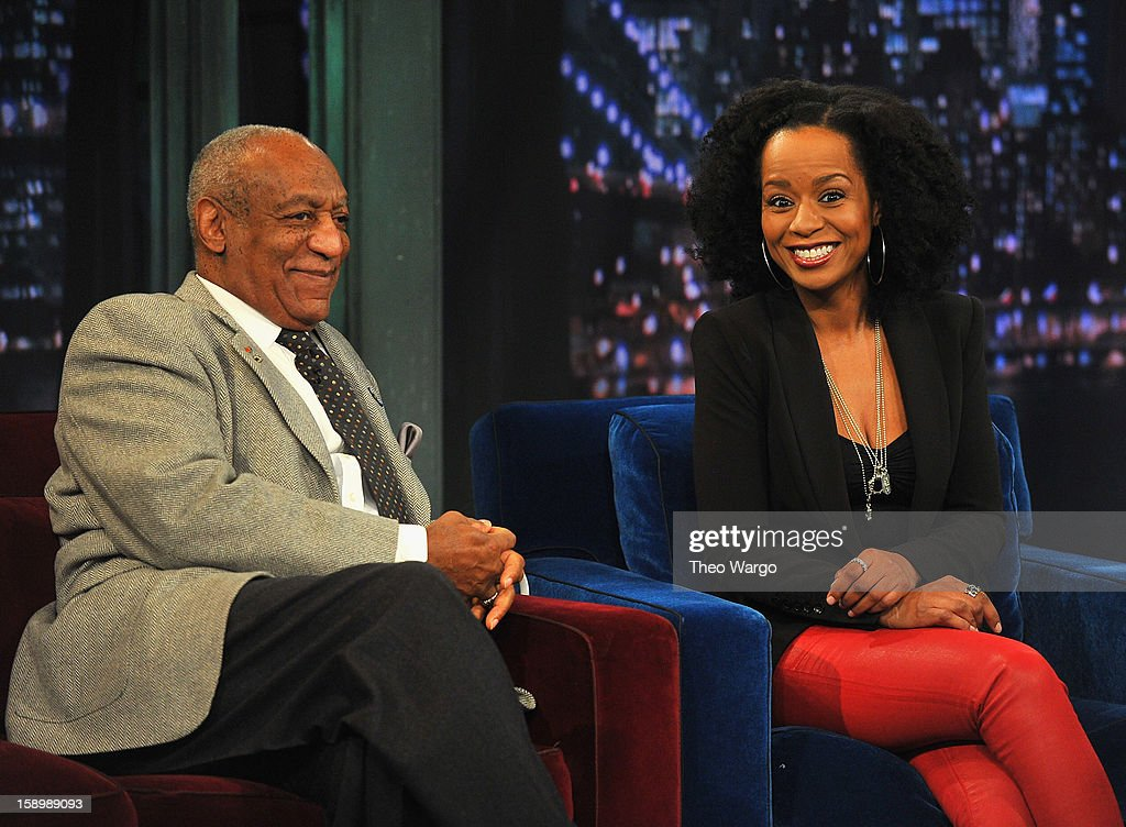 <a gi-track='captionPersonalityLinkClicked' href=/galleries/search?phrase=Bill+Cosby&family=editorial&specificpeople=206281 ng-click='$event.stopPropagation()'>Bill Cosby</a> and <a gi-track='captionPersonalityLinkClicked' href=/galleries/search?phrase=Tempestt+Bledsoe&family=editorial&specificpeople=1064991 ng-click='$event.stopPropagation()'>Tempestt Bledsoe</a> visit 'Late Night With Jimmy Fallon' at Rockefeller Center on January 4, 2013 in New York City.