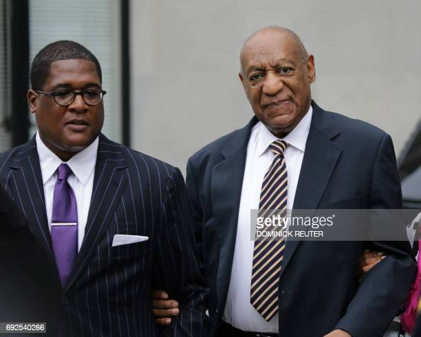 Bill Cosby arrives at the Montgomery County Courthouse June 5 2017 in Norristown Pennsylvania The US comedian and actor Cosby is to go on trial for...