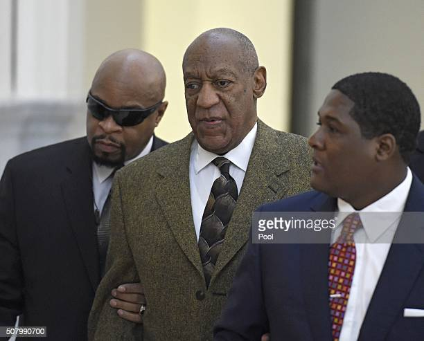 Bill Cosby arrives for a pretrail hearing in his sexual assault case at the Montgomery County Courthouse February 2 2016 in Norristown Pennsylvania