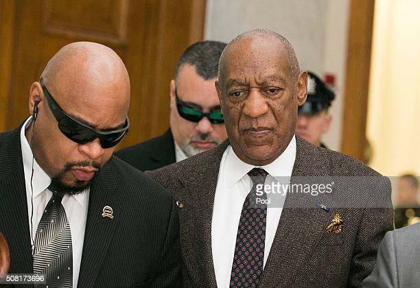 Bill Cosby arrives for the second day of hearings at the Montgomery County Courthouse February 3 2016 in Norristown Pennsylvania Cosby has been...