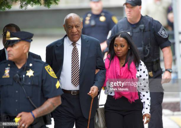 Bill Cosby arrives with actress Keshia Knight Pulliam at the Montgomery County Courthouse before the opening of the sexual assault trial June 5 2017...