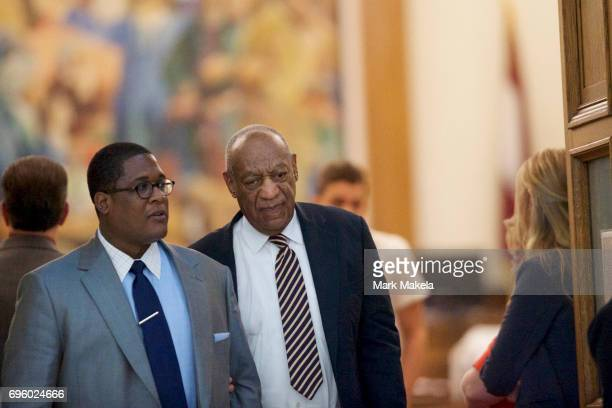Bill Cosby exits the courtroom on the third day of jury deliberations in his sexual assault trial at the Montgomery County Courthouse on June 14 2017...