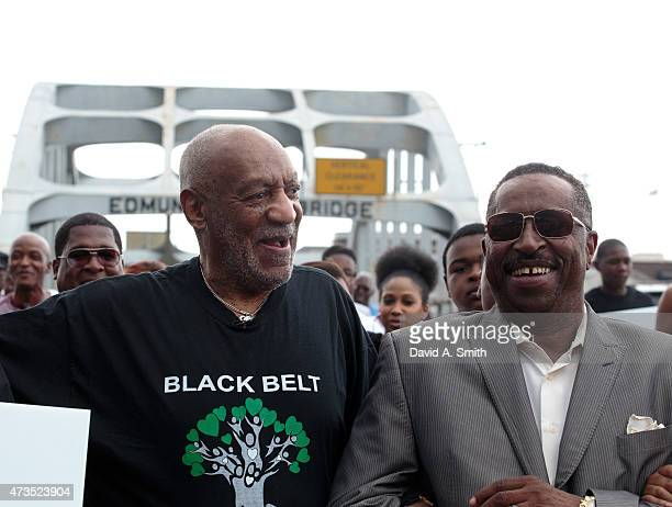 Bill Cosby participates in the Black Belt Community Foundation's March for Education across the Edmund Pettus Bridge on May 15 2015 in Selma Alabama