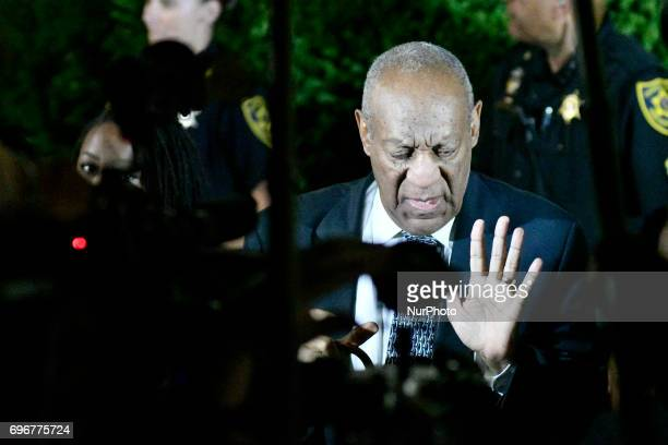 Bill Cosby speaks as he departs Montgomery Courthouse after the fifth day of jury deliberations in the aggravated indecent assault trail in...