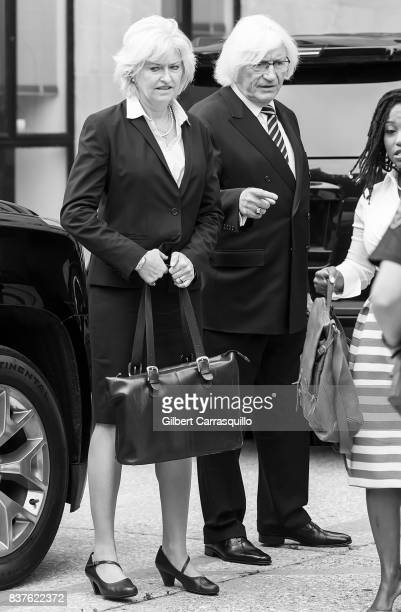 Bill Cosby's new attorneys Kathleen Bliss and Thomas Mesereau are seen arriving to Montgomery County Courthouse prior a pretrial hearing to discuss...