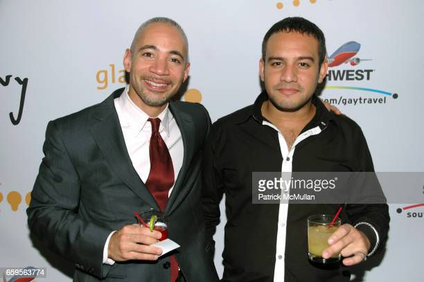 Bill Crosby and David Falzon attend GLAAD Media Awards in Advertising cocktail party at The New World Stages 340 West 50th St on October 27 2009 in...
