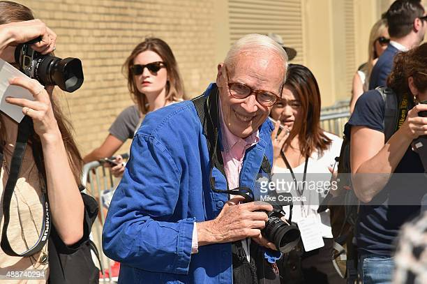 Bill Cunningham attends Ralph Lauren Spring 2016 during New York Fashion Week The Shows at Skylight Clarkson Sq on September 17 2015 in New York City