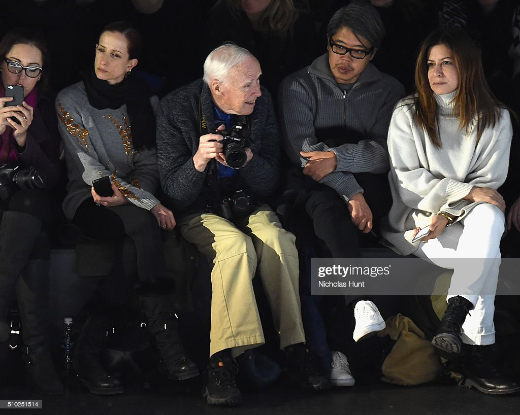 Bill Cunningham (C) attends the Hood By Air Fall 2016 fashion show during New York Fashion Week: The Shows at The Arc, Skylight at Moynihan Station on February 14, 2016 in New York City.