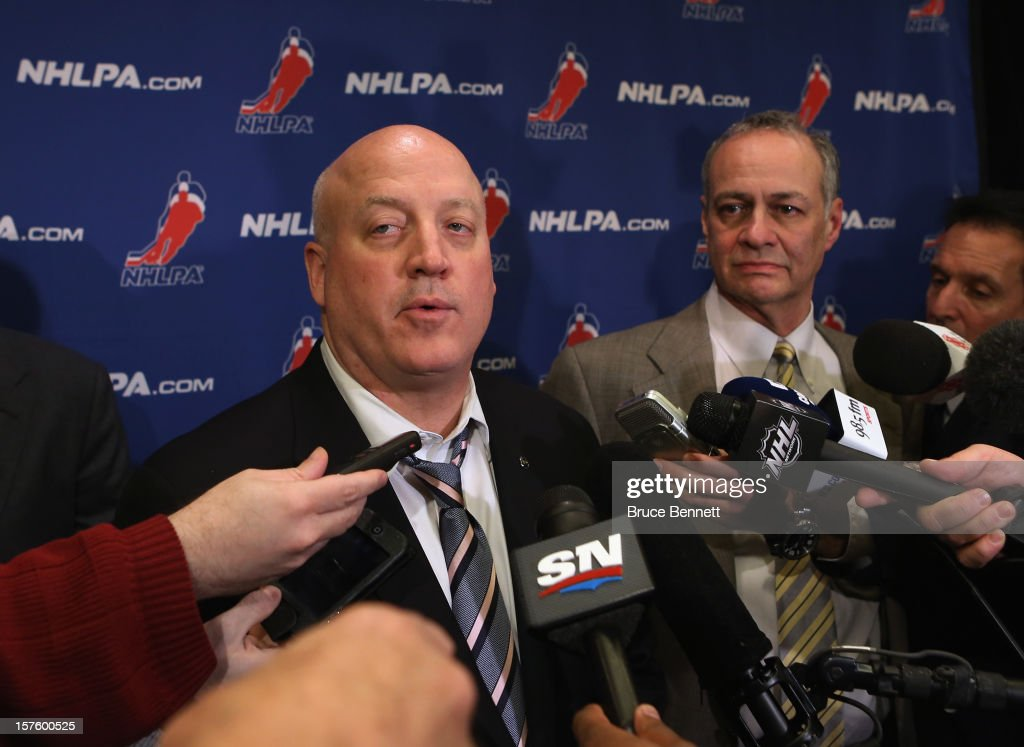Bill Daly, Deputy Commissioner of the National Hockey League and Steve Fehr of the NHL Players Association address the media following negotiations at the Westin Times Square Hotel on December 4, 2012 in New York City.
