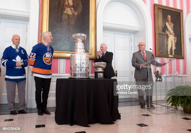 Bill Daly Deputy NHL Commissioner speaks during the Stanley Cup Homecoming as part of the Stanley Cups 125th anniversary celebrations on March 16...