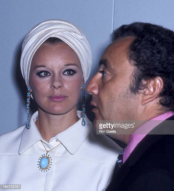 Bill Dana and Elke Sommers attend Sixth Annual Publicists Guild of America Awards on April 11 1969 at the Sheraton Universal Hotel in Universal City...