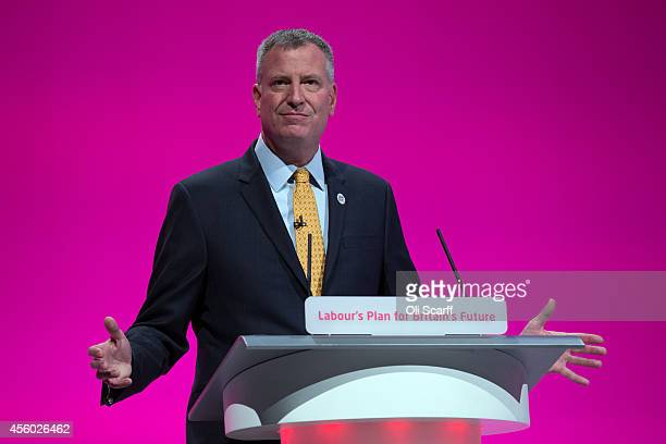 Bill de Blasio the Mayor of New York City delivers his speech to delegates on the final day of the Labour Party Conference on September 24 2014 in...