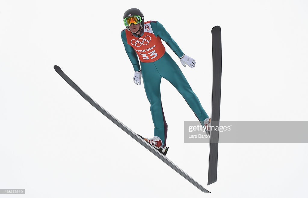 Bill Demong of USA jumps during the Men's Individual Gundersen Normal Hill/10 km Nordic Combined training on day 4 of the Sochi 2014 Winter Olympics...