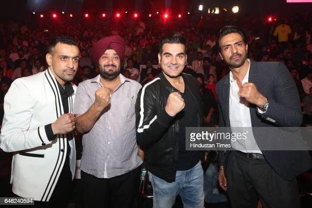 Bill Dosanjh CEO Super Fight League Entrepreneur RS Jaura and actors Arbaaz Khan and Arjun Rampal during the Super Fight League at Siri Fort Sports...