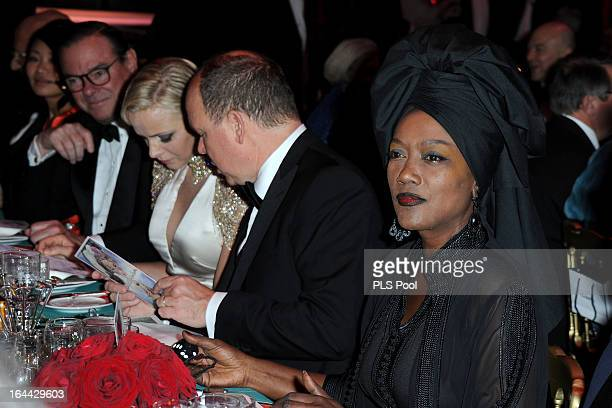 Bill Elliot Princess Charlene of Monaco Prince Albert II of Monaco and Khadja Nin attend the 'Bal De La Rose Du Rocher' in aid of the Fondation...