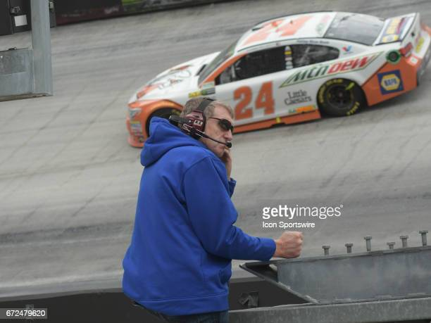 Bill Elliott Hall of Fame Member and Father of Chase Elliott Hendrick Motorsports Mountain Dew/Little Caesars Pizza Chevrolet SS watches as his son...