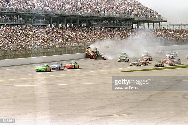 Bill Elliott McDonald's Ford crashes on lap 141 as Bobby Labonte Interstate Batteries Pontiac takes the lead followed by Dale Jarrett Quality...
