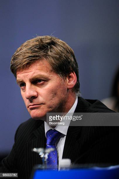Bill English New Zealand's finance minister attends the 16th AsiaPacific Economic Cooperation Finance Ministers' Meeting news conference in Singapore...