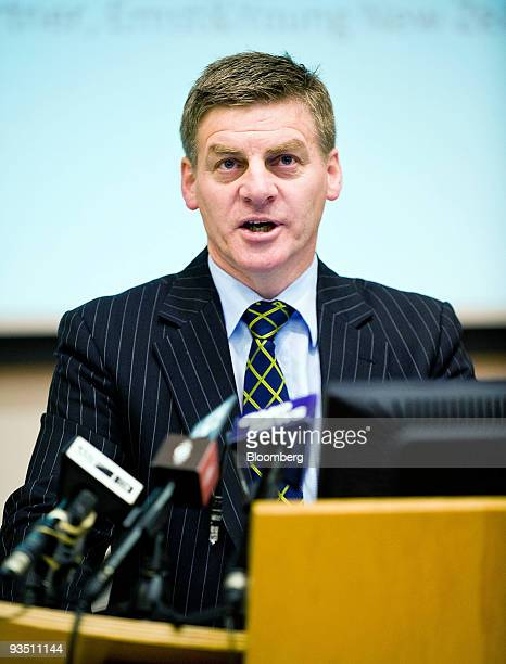 Bill English New Zealand's finance minister speaks at the Tax Working Group Conference 2009 at Victoria University in Wellington New Zealand on...