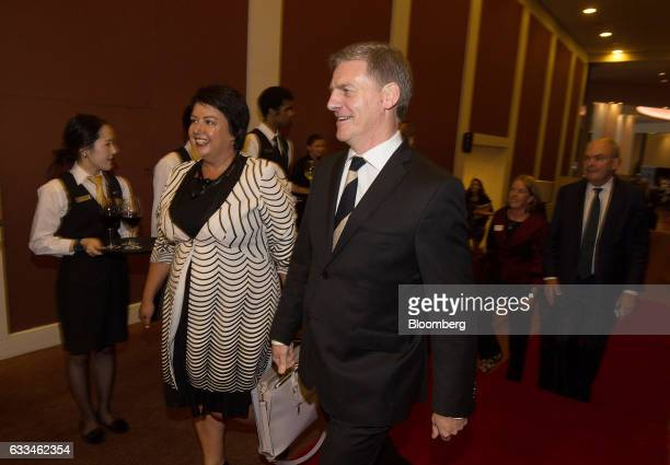 Bill English New Zealand's prime minister center and Paula Bennett New Zealand's deputy prime minister second from left arrive for a State of the...