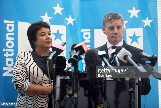 Bill English New Zealand's prime minister right and Paula Bennett New Zealand's deputy prime minister pause during a news conference after English...