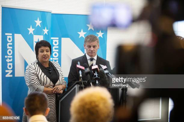 Bill English New Zealand's prime minister right and Paula Bennett New Zealand's deputy prime minister attend a news conference after English...