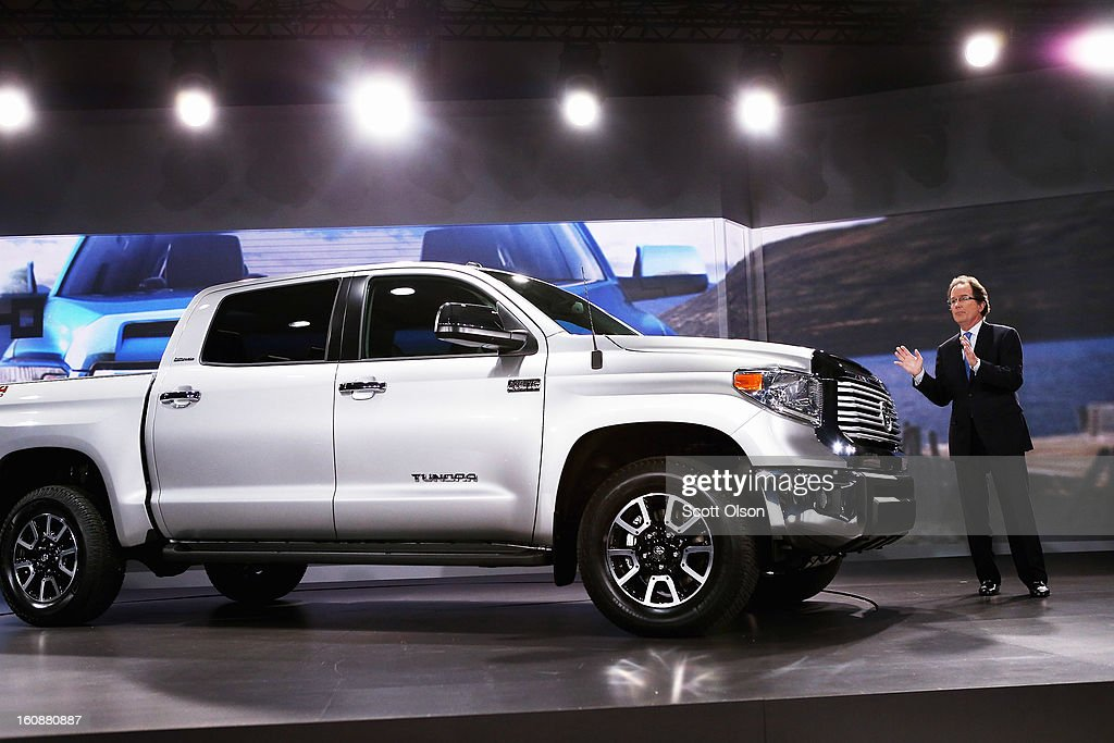 Bill Fay, Toyota's group vice president and general manager, introduces the 2014 Tundra pickup truck at the Chicago Auto Show on February 7, 2013 in Chicago, Illinois. The Chicago Auto Show, one of the oldest and largest in the country, will be open to the public February 9-18.