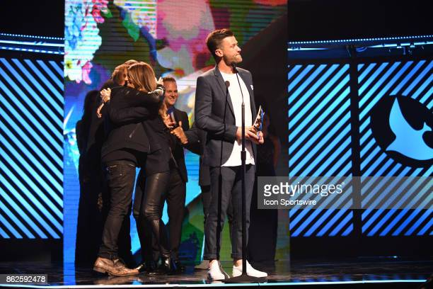 Bill Fielding of Hillsong Worship after Hillsong Worship receives the Worship Album of the year Award during the 48th Annual GMA Dove awards in Allen...