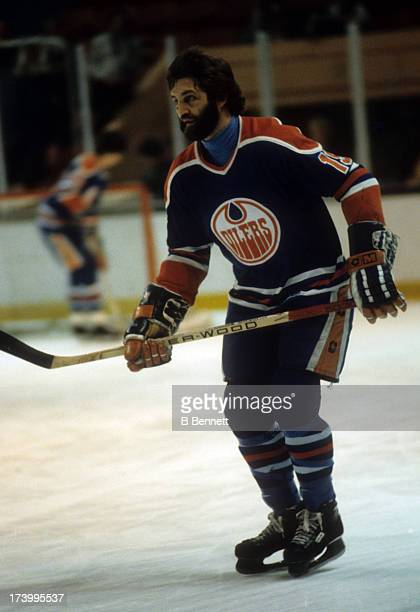 Bill Flett of the Edmonton Oilers skates on the ice during a WHA game against the New England Whalers on April 15 1979 at the Hartford Civic Center...