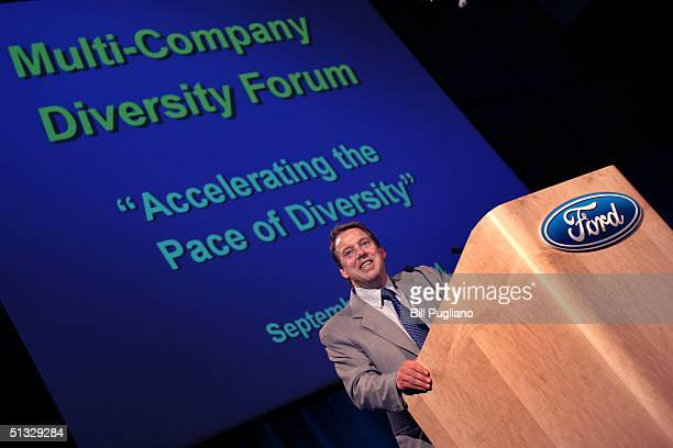 Bill Ford chairman and chief executive officer of Ford Motor Company speaks at Ford's firstever MultiCompany Diversity Forum September 20 2004 in...