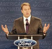 Bill Ford chairman of the board and CEO of Ford Motor Company gestures as he discusses Ford Motor Company's new massive restructuring plan called...