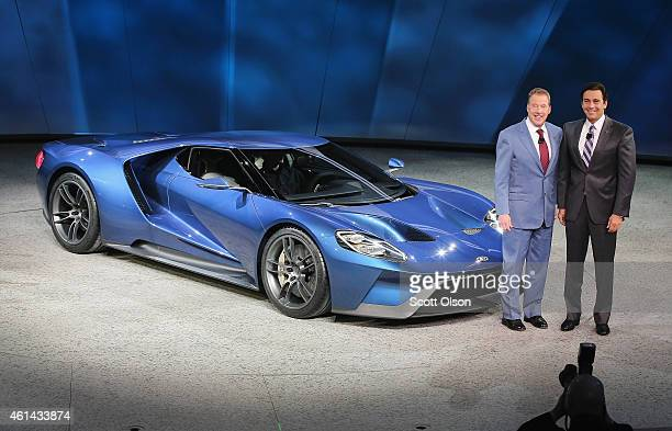 Bill Ford Executive Chairman of Ford Motor Company and Mark Fields President and Chief Executive Officer of Ford Motor Company celebrate the launch...