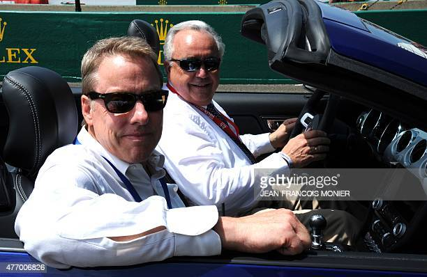 Bill Ford greatgrand son of Henry Ford and chairman of the 'Ford Motor Company' sits beside Patrick Gruau CEO of Gruau a French car manufacturer and...