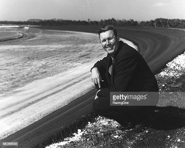 Bill France Sr looks on from the track he created circa 1959 at the Daytona International Speedway in Daytona Beach Florida