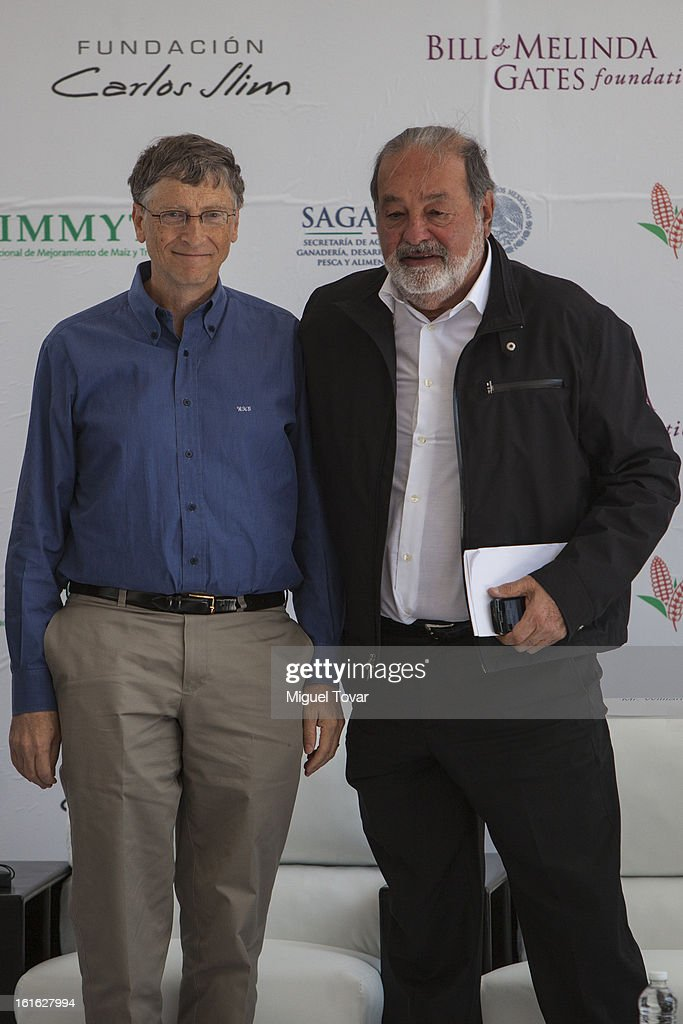 Bill Gates and Carlos Slim during a press conference at the CIMMYT on February 13, 2013 in Texcoco, Mexico. Gates and Slim announce a collaboration of their foundations in grain technology and agriculture development.