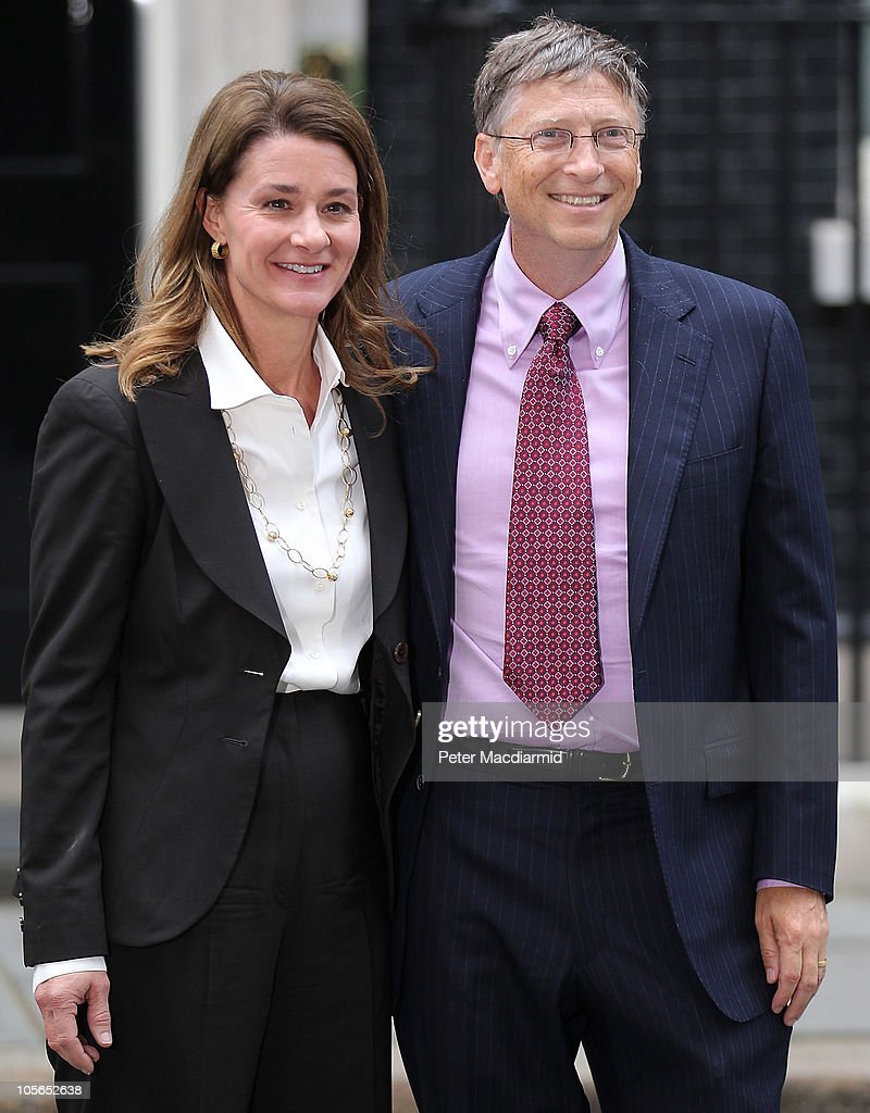 Bill Gates and his wife Melinda visit Downing Street on October 18 2010 in London England