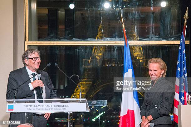 Bill Gates and Journalist Christine Ockrent attend the FrenchAmerican Foundation Dinner Gala at Palais de Chaillot on October 24 2016 in Paris France