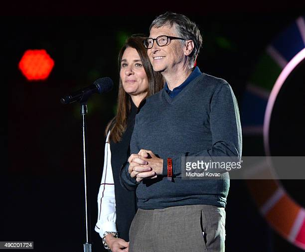 Bill Gates and Melinda Gates present onstage at the 2015 Global Citizen Festival to end extreme poverty by 2030 in Central Park on September 26 2015...