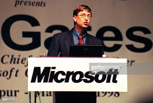 Bill Gates chairman and chief executive officer of Microsoft Corporation delivers his keynote address at the opening of the 'Connected Community...
