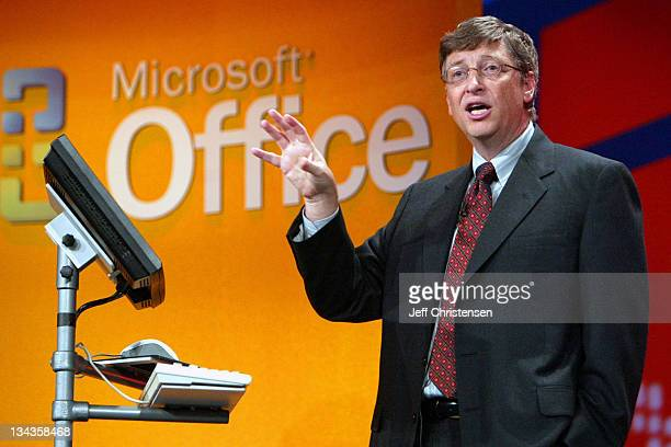 Bill Gates Chairman and Chief Software Architect at Microsoft talks to reporters as Microsoft announced the general availability of the new Microsoft...