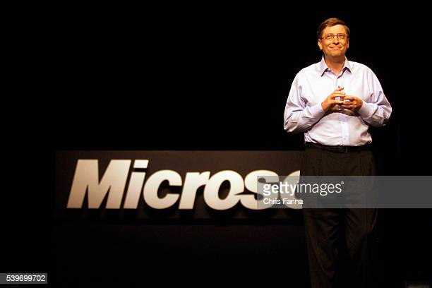 Bill Gates chairman and chief software architect for Microsoft Corporation delivers a keynote speech during the COMDEX Fall 2002 show