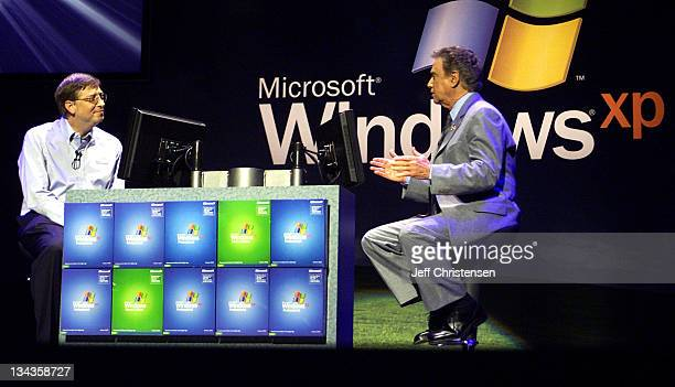 Bill Gates Chairman and Chief Software Architect of Microsoft plays a game of 'Who Wants to be a Millionaire' with show host Regis Philbin during the...