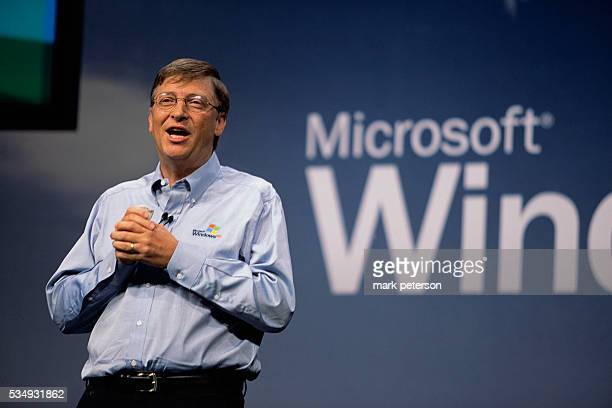 Bill Gates Chairman and Chief Software Architect of Microsoft speaks during the press conference at the Windows XP launch