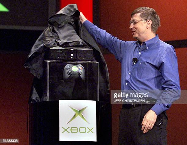 Bill Gates chairman and chief software architect of Microsoft unveils the new Xbox video game console during his keynote address at the Consumer...