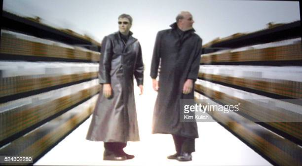 Bill Gates Chairman and Chieft Software Architect of Microsoft and Microsoft CEO Steve Ballmer perform in a pretaped spoof of 'The Matrix' during the...
