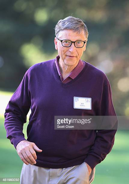 Bill Gates chairman and founder of Microsoft Corp attends the Allen Company Sun Valley Conference on July 10 2014 in Sun Valley Idaho Many of the...