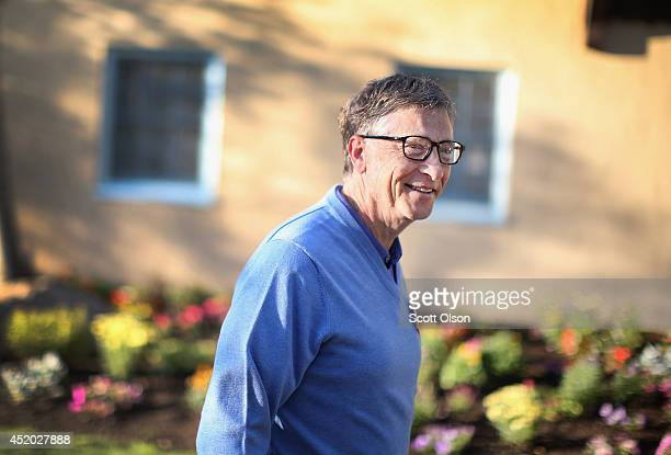 Bill Gates chairman and founder of Microsoft Corp attends the Allen Company Sun Valley Conference on July 11 2014 in Sun Valley Idaho Many of the...