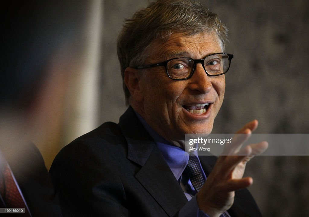 <a gi-track='captionPersonalityLinkClicked' href=/galleries/search?phrase=Bill+Gates&family=editorial&specificpeople=202049 ng-click='$event.stopPropagation()'>Bill Gates</a>, co-chairman of the Bill & Melinda Gates Foundation, participates in a panel discussion during the Financial Inclusion Forum December 1, 2015 at the Treasury Department in Washington, DC. Department of the Treasury and the U.S. Agency for International Development (USAID) held the forum to discuss 'ways to foster greater access to safe and affordable financial services for everyone.'