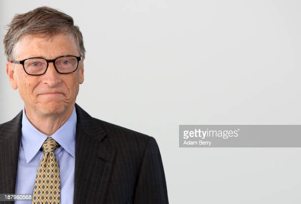 Bill Gates cofounder of the Bill Melinda Gates Foundation and former head of Microsoft poses at the German federal chancellery on November 14 2013 in...