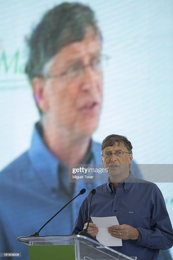 Bill Gates during a press conference at the CIMMYT on February 13, 2013 in Texcoco, Mexico. Gates and Slim announce a collaboration of their foundations in grain technology and agriculture development.